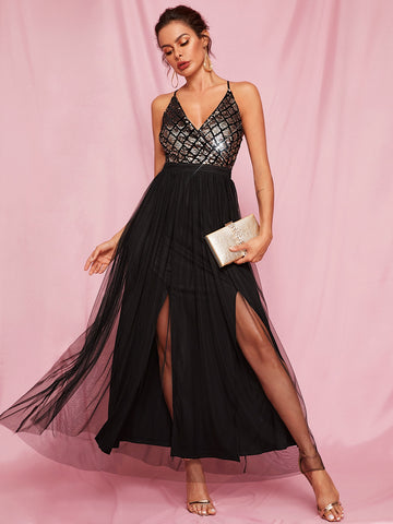 Criss-cross Backless Sequin Cami Tulle Dress
