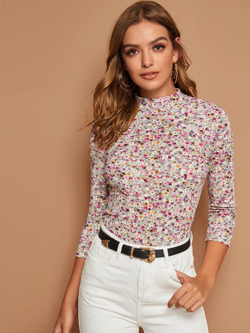Mock-Neck Ditsy Floral Print Top