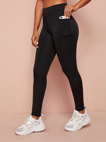 Pocket Detail Wide Band Waist Sports Leggings