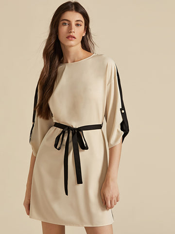 Amy's Cart Premium Roll Tab Sleeve Two Tone Belted Dress