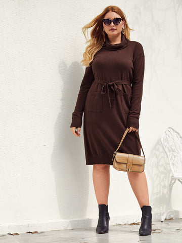 Plus Cowl Neck Self Belted Pocket Front Sweater Dress