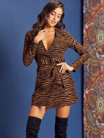 Zebra Striped Double Button Belted Dress