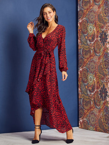 Leopard Print Belted Swing Wrap Dress