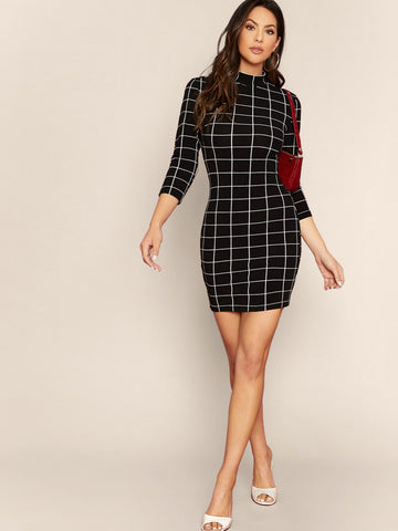 Mock-neck Grid Bodycon Dress Without Bag