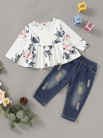 Baby Girl Floral Print Top & Ripped Jeans