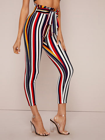 Paperbag Waist Self Belted Striped Skinny Pants