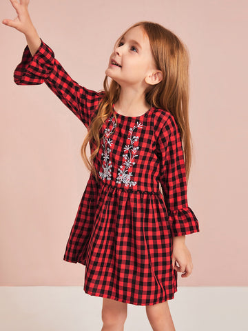 Toddler Girls Plants Embroidery Gingham Babydoll Dress