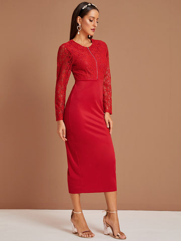 Zipper Lace Overlay Split Hem Dress