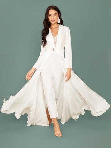 Shawl Collar Lace Insert Belted Cape Jumpsuit