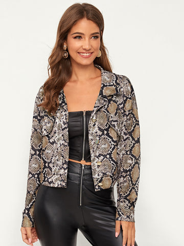 Snakeskin Print Button Front Crop Jacket