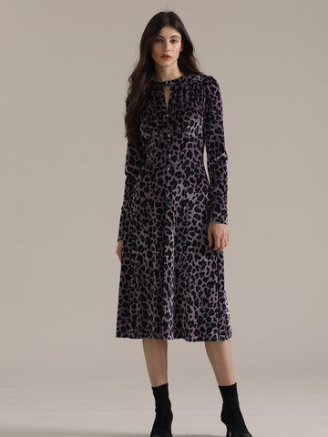 Premium Leopard Print Keyhole Neck Wide Band Waist Velvet Dress