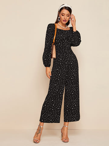 Square Neck Twist Front Dalmatian Print Jumpsuit