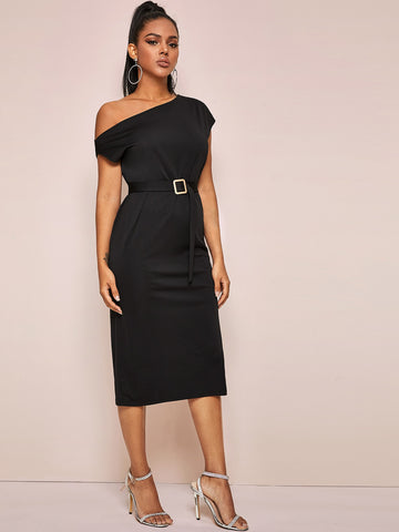 Solid Asymmetrical Neck Buckle Belted Dress