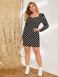 Plus Gigot Sleeve Polka Dot Fitted Dress