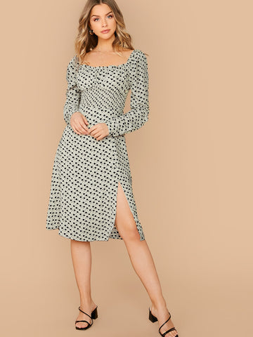 Ditsy Floral Slit Hem Gigot Sleeve Shirred Waist Dress