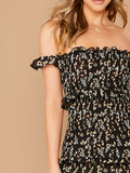 Ruffle Detail Shirred Ditsy Floral Bardot Dress