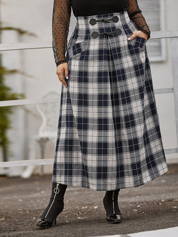 Plus Horn Buckle Detail Pocket Front Plaid Skirt