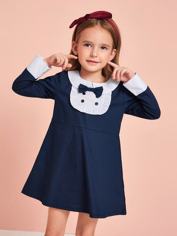 Toddler Girls Contrast Panel Bow Front Babydoll Dress
