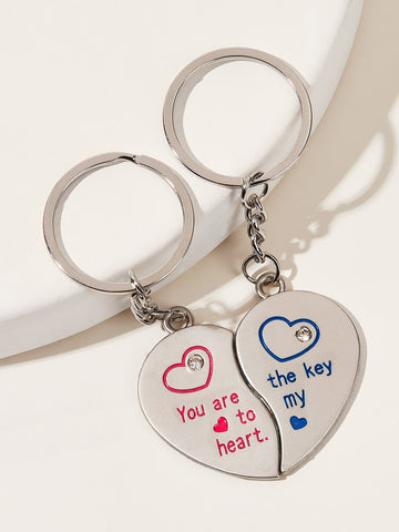 Letter Engraved Heart Charm Keychain