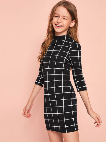 Girls Mock-neck Keyhole Back Grid Bodycon Dress