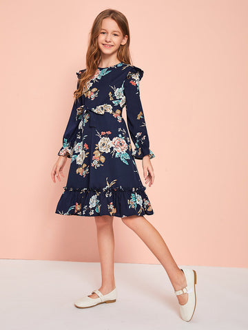 Girls Floral Print Ruffle Trim Self Belted Dress
