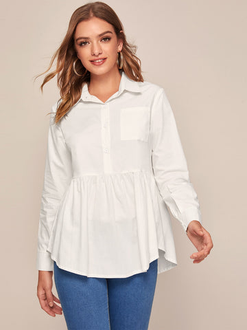 Solid Half Button Babydoll Blouse