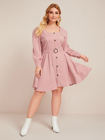 Plus Button Front Belted Corduroy A-line Dress