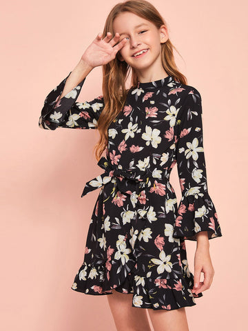 Girls Floral Print Bell Sleeve Wrap Hem Beleted Dress