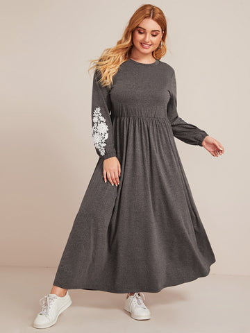 Plus Floral Applique Sleeve Maxi Dress Without Bag