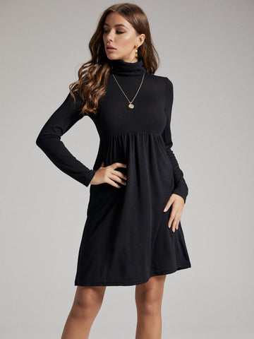 Solid Funnel Neck A-line Dress