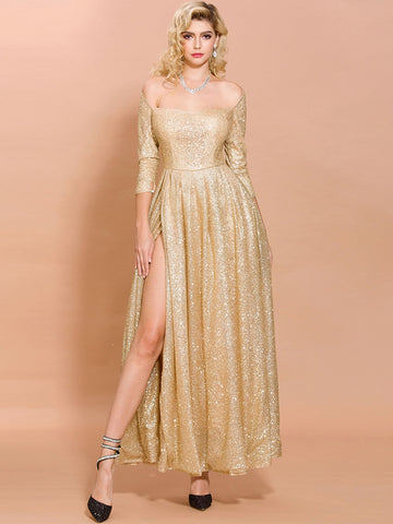 Off Shoulder Split Thigh Glitter Prom Dress
