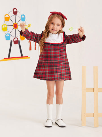 Toddler Girls Contrast Panel Frill Trim Tartan Tunic Dress