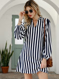 Notched Collar Vertical Stripe Shirt Dress
