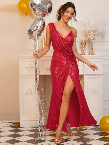 Asymmetrical Neck Draped Sequin Dress