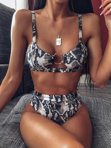Snakeskin Ring Linked Top With High Waist Bikini Set