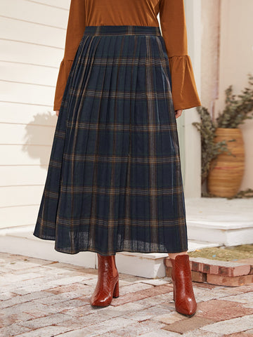 Plus Tartan Elastic Waist Pleated Skirt