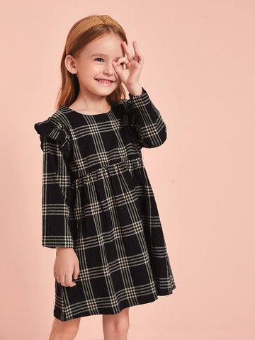 Toddler Girls Plaid Ruffle Trim Babydoll Dress
