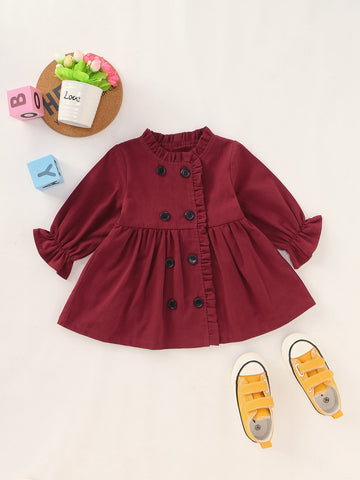 Baby Girl Frill Trim Double Breasted Skater Coat