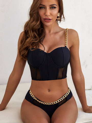 Chain Strap Underwire Bikini Set