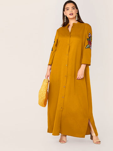 Plus Embroidered Floral Applique Slit Hem Maxi Shirt Dress