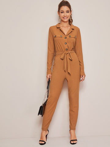 Button Front Rib-knit Belted Jumpsuit