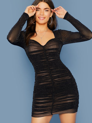Zipper Back Ruched Glitter Mesh Dress