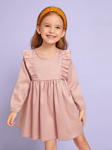 Toddler Girls Solid Ruffle Trim Babydoll Dress