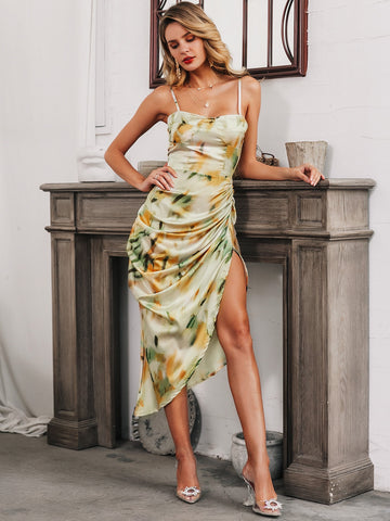 Glamaker Tie Dye Split Hem Ruched Cami Prom Dress