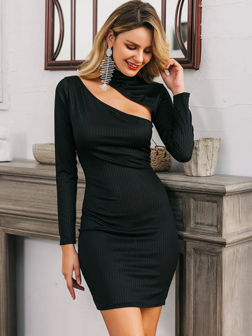 Glamaker Cutout Detail Rib-knit Bodycon Dress