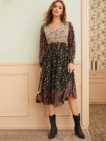 Contrast Panel Floral Print Dress Without Belt