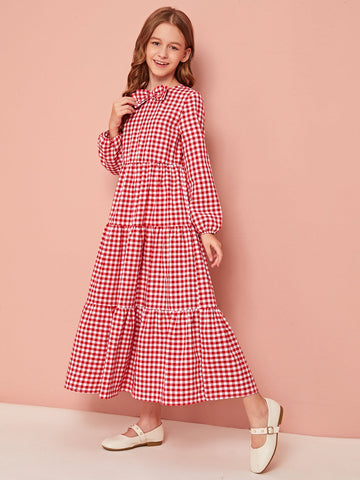 Girls Bow Front Layered Ruffle Hem Gingham Smock Dress