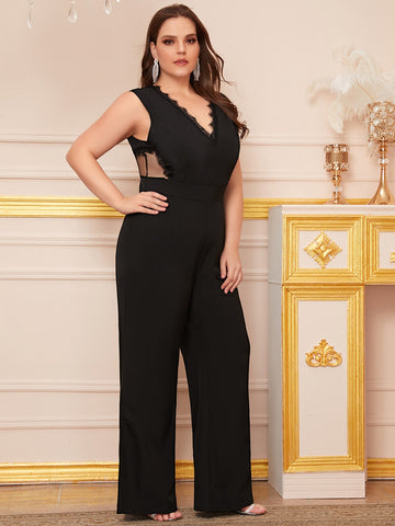 Plus Lace Panel V Cut Sheer Back Jumpsuit