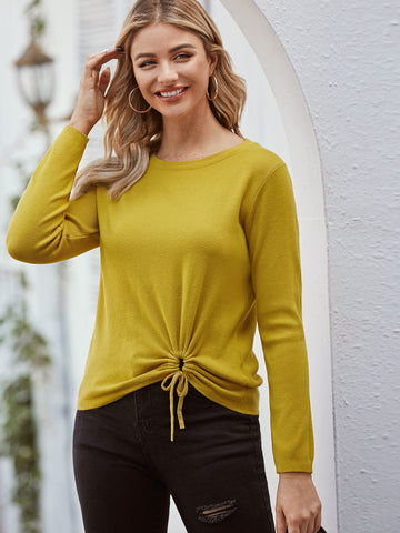 Solid Drawstring Hem Sweater