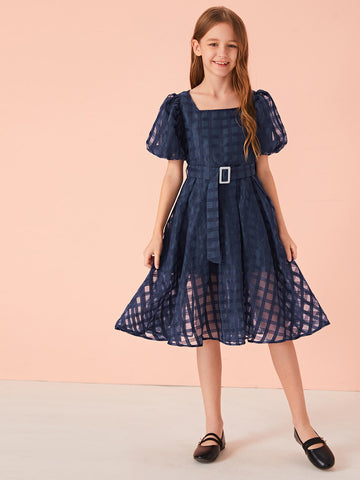 Girls Puff Sleeve Buckle Belted Geo Organza Overlay Dress